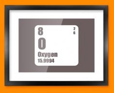 Oxygen Periodic Element Framed Print