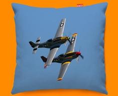 P 51 Mustang x2 North American Aviation Plane Sofa Cushion