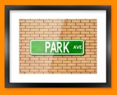 Park Ave US Street Sign Framed Print