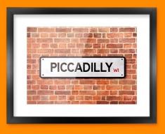 Piccadilly UK Street Sign Framed Print