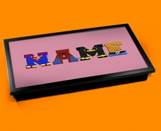 Pink Superhero Personalised Childrens Name Cushioned Laptop Lap Tray