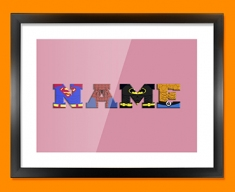 Pink Superhero Personalised Childrens Name Framed Print