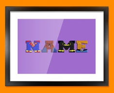 Purple Superhero Personalised Childrens Name Framed Print