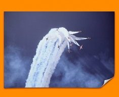 Red Arrows Clouds Plane Poster