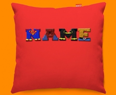 Red Superhero Personalised Childrens Name Sofa Cushion