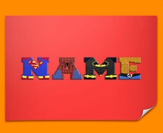 Red Superhero Personalised Childrens Name Poster