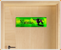 Skateboard Personalised Name Children's Bedroom Door Sign