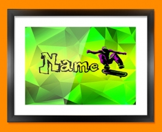 Skateboard Personalised Childrens Name Framed Print