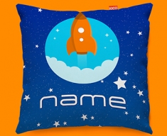 Space Rocket Personalised Childrens Name Sofa Cushion