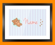 Teddy Personalised Childrens Name Framed Print