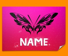 Tribal Butterfly Personalised Childrens Name Poster