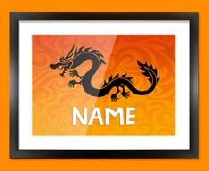 Tribal Dragon Personalised Childrens Name Framed Print