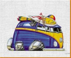 VW Beach Van Canvas Art Print
