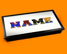 White Superhero Personalised Childrens Name Cushioned Laptop Lap Tray