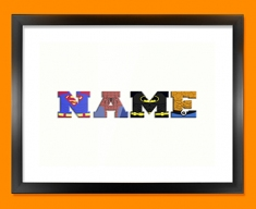 White Superhero Personalised Childrens Name Framed Print