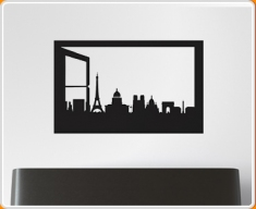 Window Silhouette Paris Wall Sticker