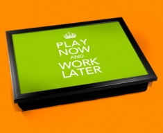 Work Later Keep Calm Cushion Lap Tray