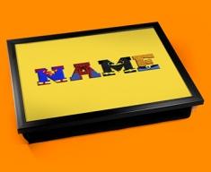 Yellow Superhero Personalised Childrens Name Cushion Lap Tray