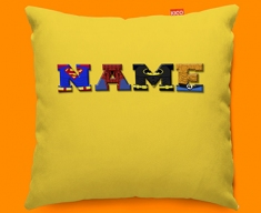 Yellow Superhero Personalised Childrens Name Sofa Cushion