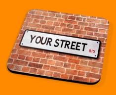 Custom UK Street Sign Drinks Coaster