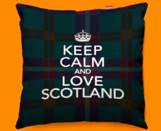 Keep Calm Love Scotland Blue Funky Sofa Cushion 45x45cm