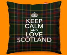 Keep Calm Love Scotland Green Funky Sofa Cushion 45x45cm