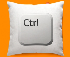 Keyboard Key Ctrl White Funky Sofa Cushion 45x45cm