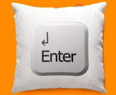 Keyboard Key Enter White Funky Sofa Cushion 45x45cm