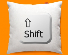 Keyboard Key Shift White Funky Sofa Cushion 45x45cm
