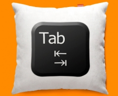Keyboard Key Tab Black Funky Sofa Cushion 45x45cm