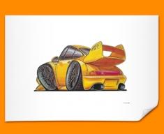 Porsche 911 GT Car Caricature Illustration Poster