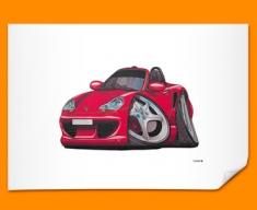 Porsche Boxter Car Caricature Illustration Poster