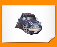 Mini Cooper Union Jack Car Caricature Illustration Poster