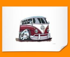 VW Camper Car Caricature Illustration Poster