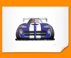 Chrysler Viper Front Car Caricature Illustration Poster