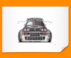 Lancia Intergrale Car Caricature Illustration Poster