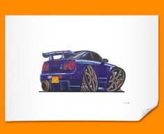 Nissan Skyline GTR Car Caricature Illustration Poster