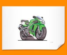 Kawasaki ZX7R Ninja Motorbike Bike Caricature Illustration Poster