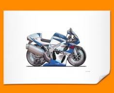Suzuki Bike GSXR Car Caricature Illustration Poster