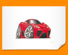 Ferrari Marinello Car Caricature Illustration Poster
