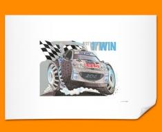 Peugeot WRC Car Caricature Illustration Poster