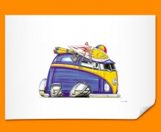 VW Volkswagen Beach Camper Car Caricature Illustration Poster