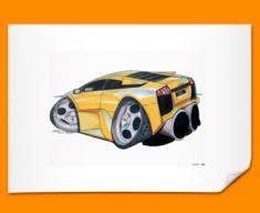 Lamborghini Murceilago Car Caricature Illustration Poster