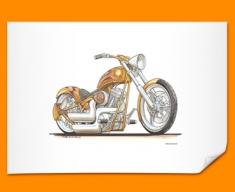 Harley Davidson Chopper Motorbike Bike Caricature Illustration Poster