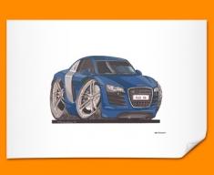 Audi R8 Car Caricature Illustration Poster