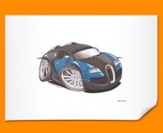Bugatti Veyron Car Caricature Illustration Poster