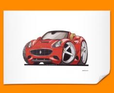 Ferrari California Car Caricature Illustration Poster