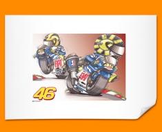 Valentino Rossi Car Caricature Illustration Poster