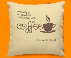 Coffee Relationship Typography Funky Sofa Cushion