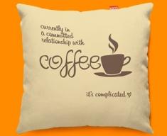 Coffee Relationship Typography Funky Sofa Cushion